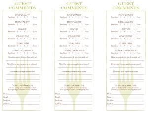 Bar Restaurant Comment Card Marketing Archive