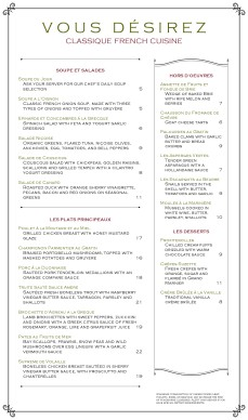 Customize French Brasserie Menu