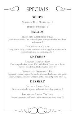 fine dining specials menu daily special menus