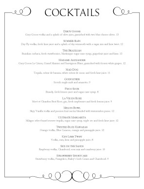 Customize fine dining bar menu for Fine dining menu template free