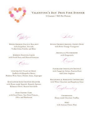 Customize Valentines Day Lunch Menu