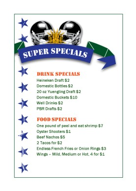 Super Football Specials Table Tent Sports Bar Menus