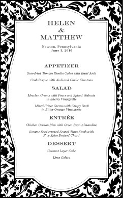 Customize Fine Restaurant Wedding Menu