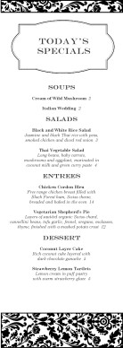 Customize Fine Restaurant Daily Specials Menu