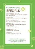 St Patricks Day Specials Table Tent