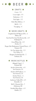 Customize Modern Beer Menu