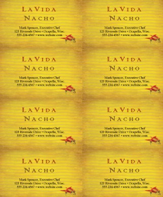 Mexican Food Business Card Marketing Archive