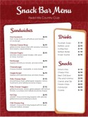 Retro Snack Bar Menu