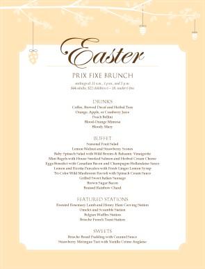 Customize restaurant easter brunch menu for Easter brunch restaurant menus