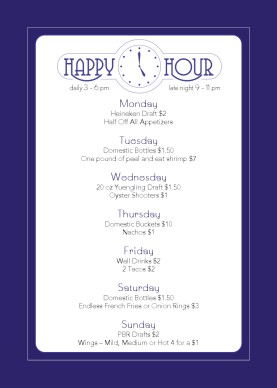 Cocktail happy hour table tent happy hour menu for Table 52 drink menu