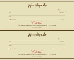 customize restaurant gift certificate template 2up
