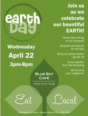 Earth Day Flyer | Restaurant Flyer