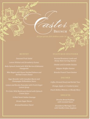Customize best easter brunch menu for Best brunch menu