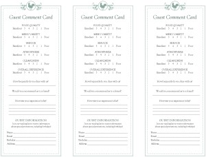 Customize Buffet Breakfast Comment Card