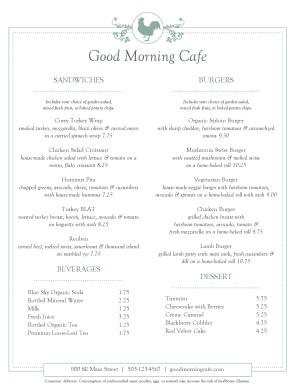 Customize Buffet Cafe Menu