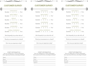 Customize Star Cafe Comment Card