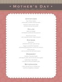 Mothers Day Meal Menu