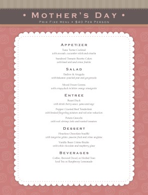 Mothers Day Meal Menu Mother S Day Menus