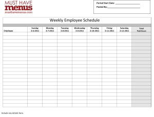 weekly employee schedule form design templates by musthavemenus