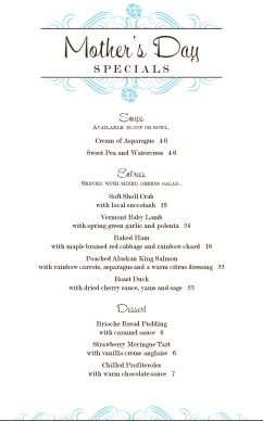 Customize Spring Mothers Day Menu