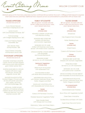 Customize Event Banquet Menu