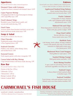 Fish house menu seafood menus for The fish house menu
