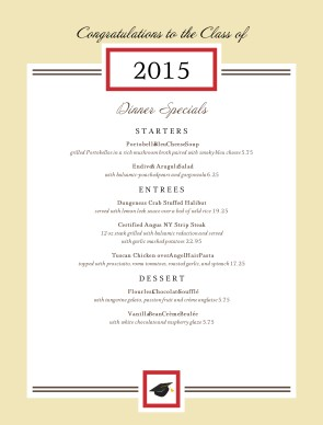 Customize Graduation Specials Menu