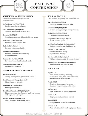 Customize Coffee Board Menu