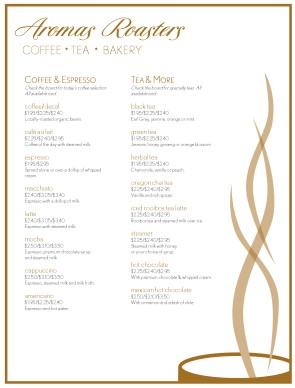 Customize Espresso Coffee Menu