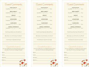 Customize Cafe Bistro Comment Card