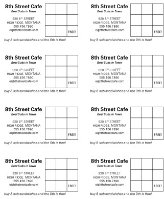 Customize Free Sandwich Card