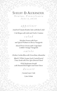 Customize Rococo French Wedding Menu