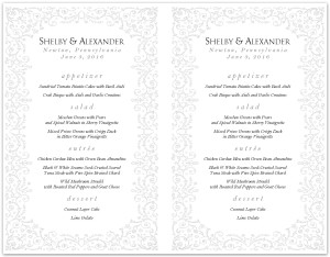 Rococo French Wedding Menu