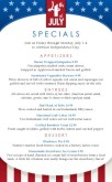 4th of July Specials Menu