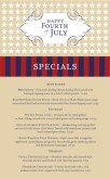 Happy July 4th Specials Menu