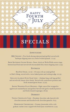 Happy july 4th specials menu 4th of july menus for 4th of july menu template