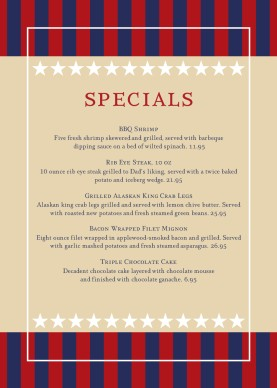July 4th Table Tent 4th Of July Menus