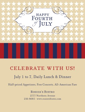 4th of july menu template - july 4th flyer 4th of july flyers