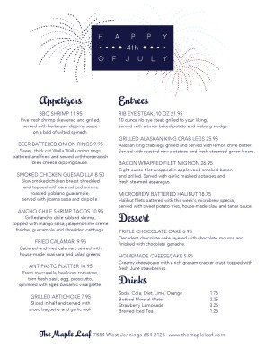 Happy july 4th menu 4th of july menus for 4th of july menu template