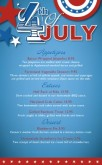 July 4th Celebration Specials Menu