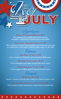 Customize july 4th celebration specials menu for 4th of july menu template