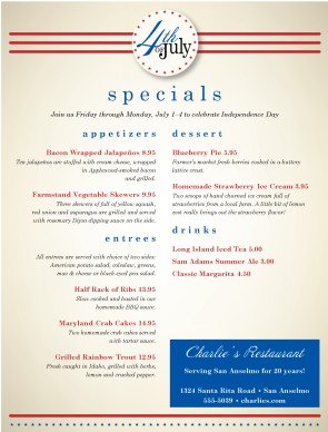 July 4th restaurant menu 4th of july menus for 4th of july menu template