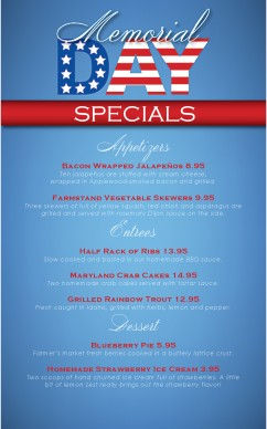 Customize Memorial Day Specials Menu