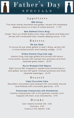 Customize Modern Fathers Day Menu
