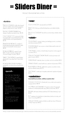 Customize City Diner Menu