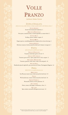 Customize Traditional Italian Menu