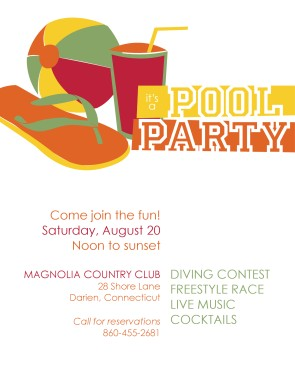 Club pool party flyer summer flyers for Club piscine flyer
