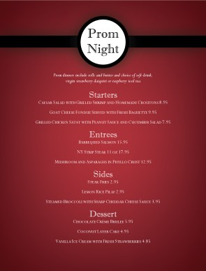 Customize Prom Menu