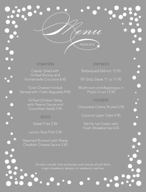 Customize Prom Night Menu
