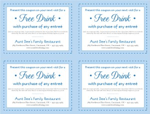 Free Lunch Coupon Template Family Restaurant Coupon Template  Marketing Archive
